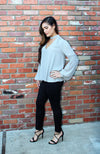 Grey Long Sleeve Blouse With Cutout V Neckline And Billowy Sleeves