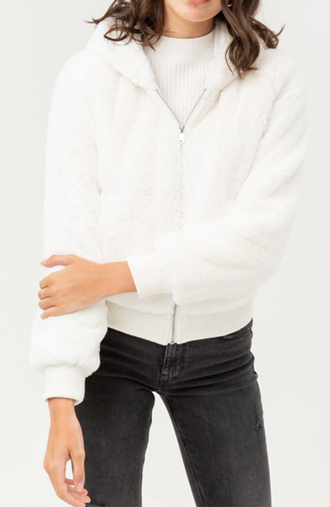 Faux Fur Hooded Jacket In Ivory