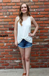 Just Black Denim High Low Denim Shorts in Medium Blue Wash