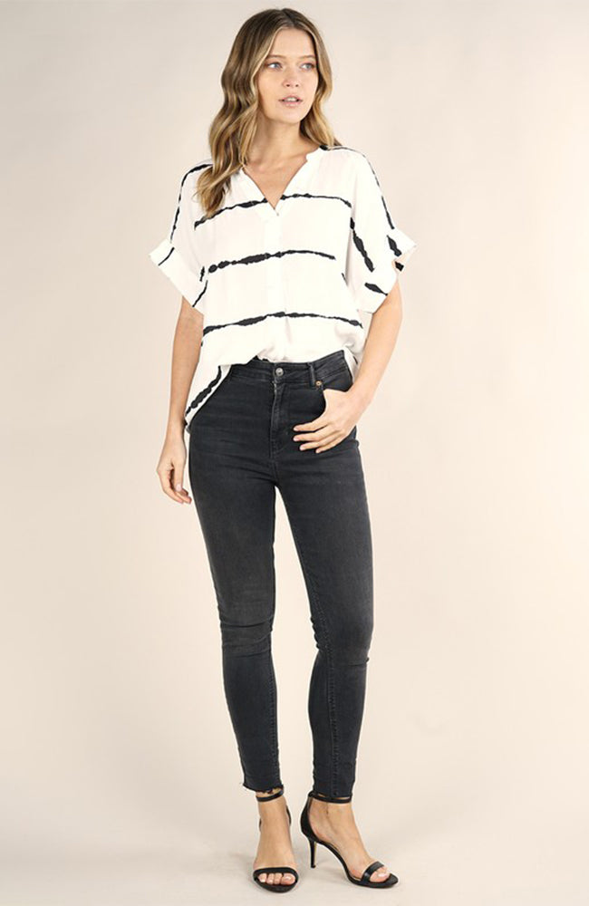 Off white blouse with black stripes by Love Stitch