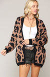 Leopard Print Long Sleeve Open Front Cardigan Camel And Black