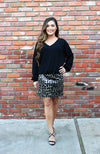 Grey And Black Leopard Mini Skirt