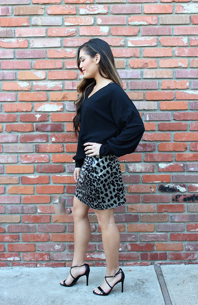 Grey And Black Leopard Print Mini Skirt