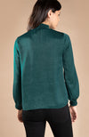 Smocked Forest Green Satin Long Sleeve Blouse With Keyhole Detail