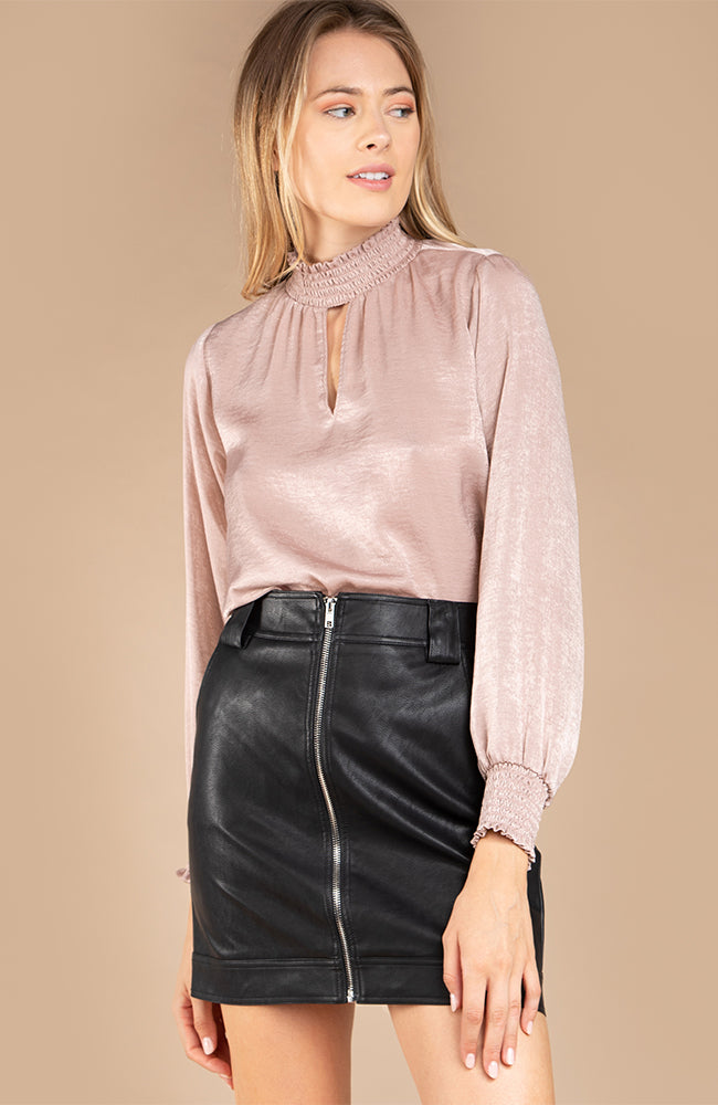 Smocked Mauve Satin Long Sleeve Blouse With Keyhole Detail