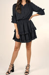 Falling For you Mini Ruffle Dress in Black