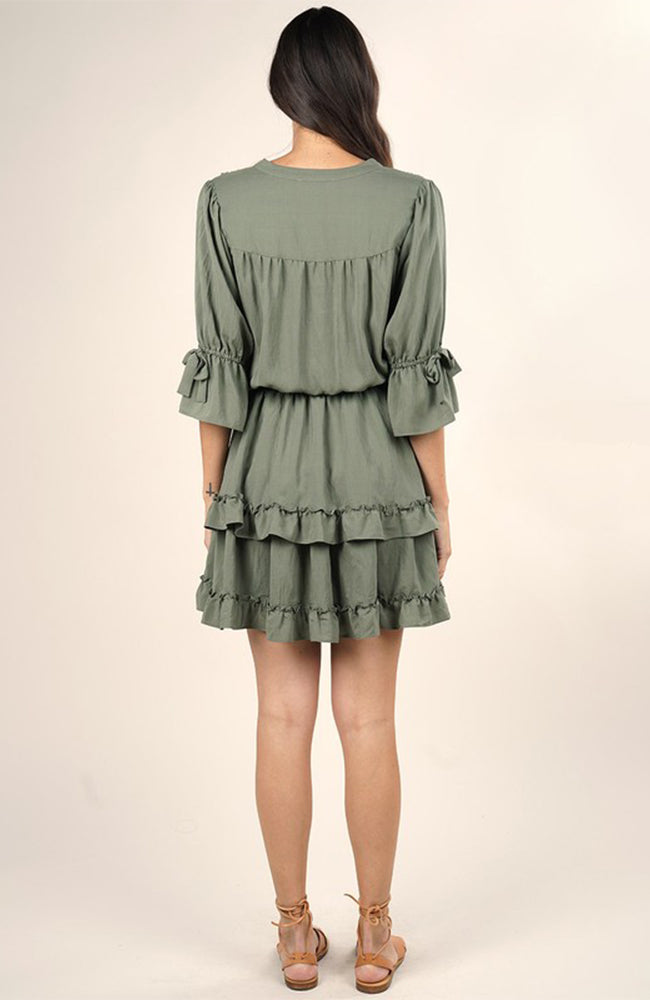 Falling For you Mini Ruffle Dress in Olive