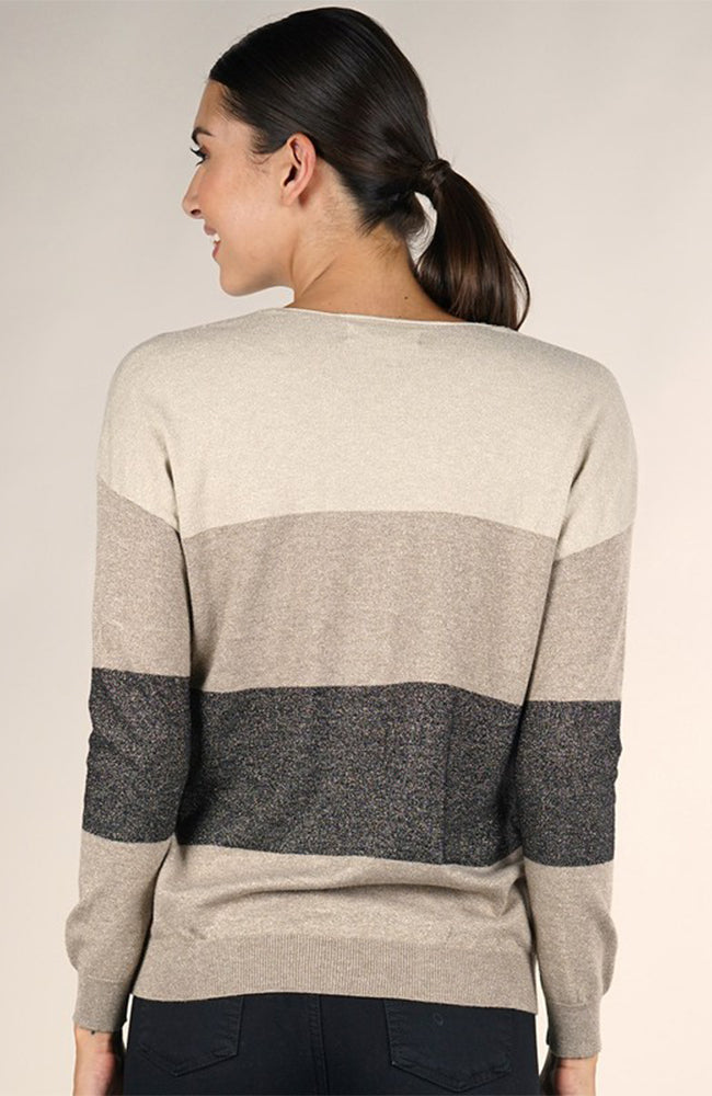 Love Stitch Color Block Metallic V Neck Sweater Back