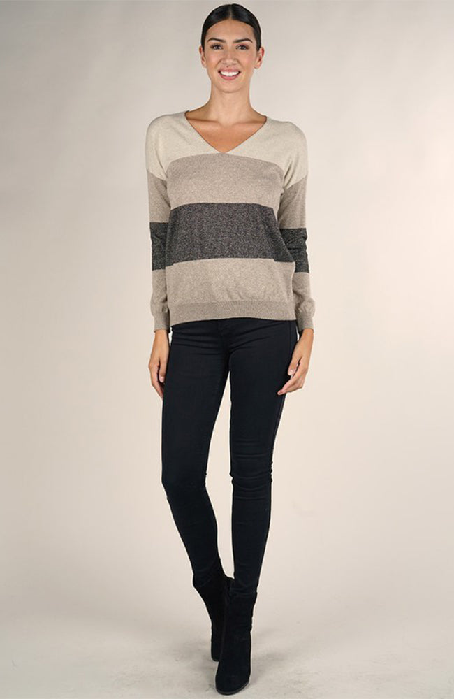 Love Stitch Color Block Metallic V Neck Sweater Front