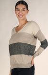 Love Stitch Color Block Metallic V Neck Sweater Side