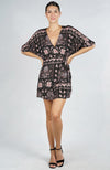 Love Stitch Moroccan Print Faux Wrap Mini Dress Front