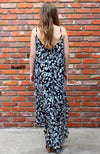 Black and White Floral Hi Low Ruffle Maxi Dress by Love Stitch