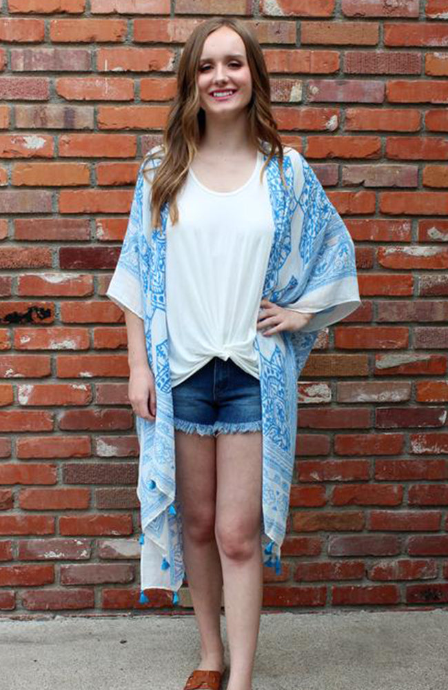 French Blue Printed Kimono Kaftan With Tassel Detail
