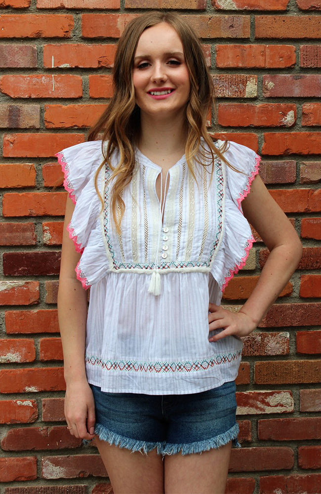 Bohemian Beauty Ruffle Sleeve Blouse by Love Stitch