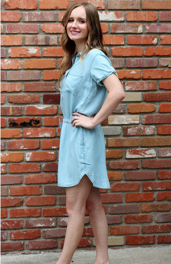 Tencel Short Sleeve Shirt Dress By Love Stitch