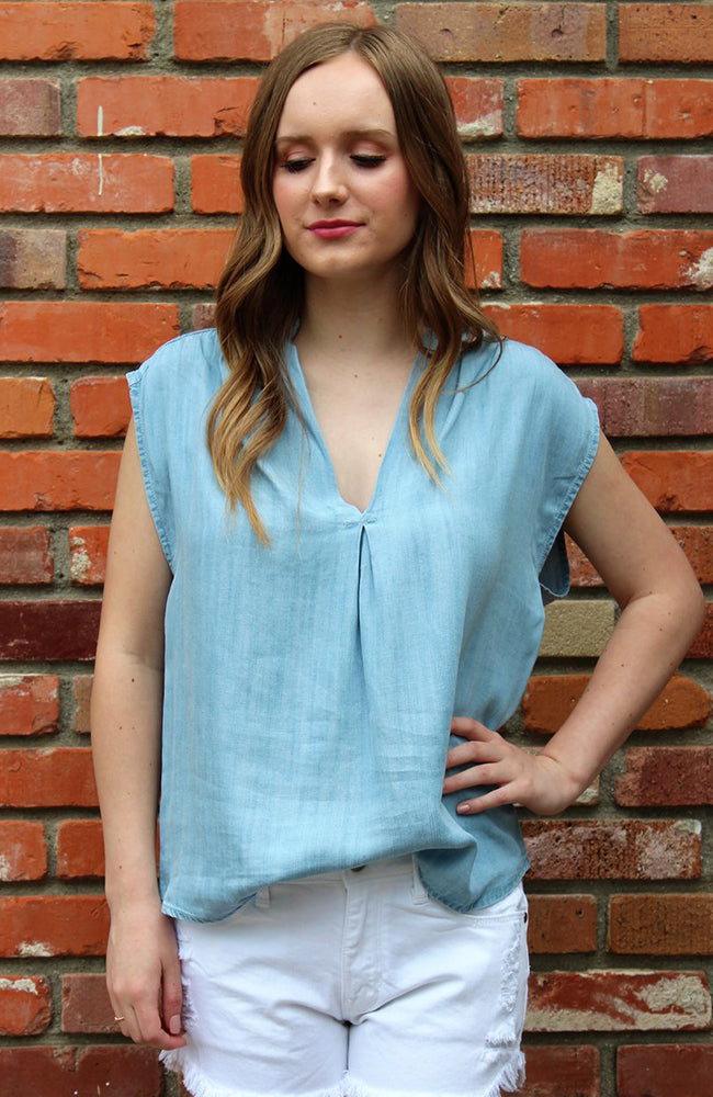 Tencel V Neck Yoke Top By Love Stitch
