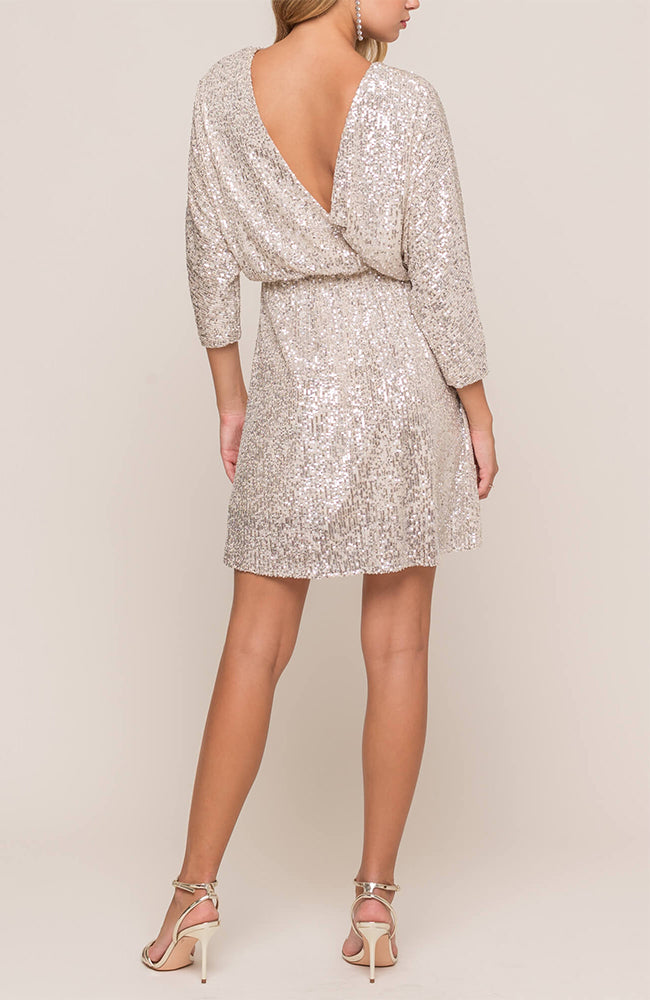 Gold Sequin Cocktail Dress With V Cut Back By Lush