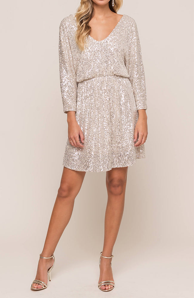 Gold Sequin Cocktail Dress By Lush Front