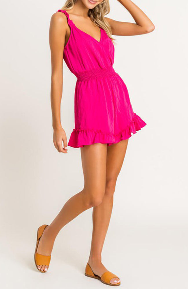 Hot Pink Ruffle Romper By Lush