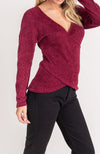 Chenille Crossover Surplice Sweater In Burgundy By Lush