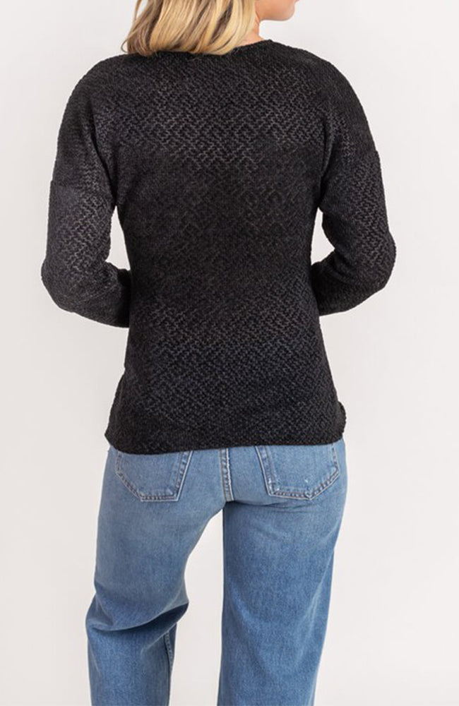 Chenille Crossover Surplice V Neck Sweater In Black By Lush