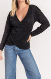Chenille Crossover Surplice Sweater In Black By Lush