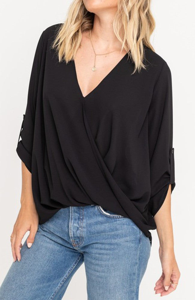 Surplice Blouse With Tabs Sleeves in Black By Lush