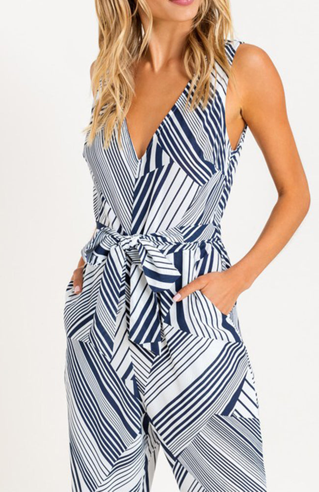 Navy and White Geometric Jumpsuit Romper By Lush