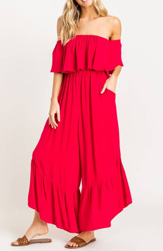 Red Ruffle Off The Shoulder Flowy Jumpsuit By Lush