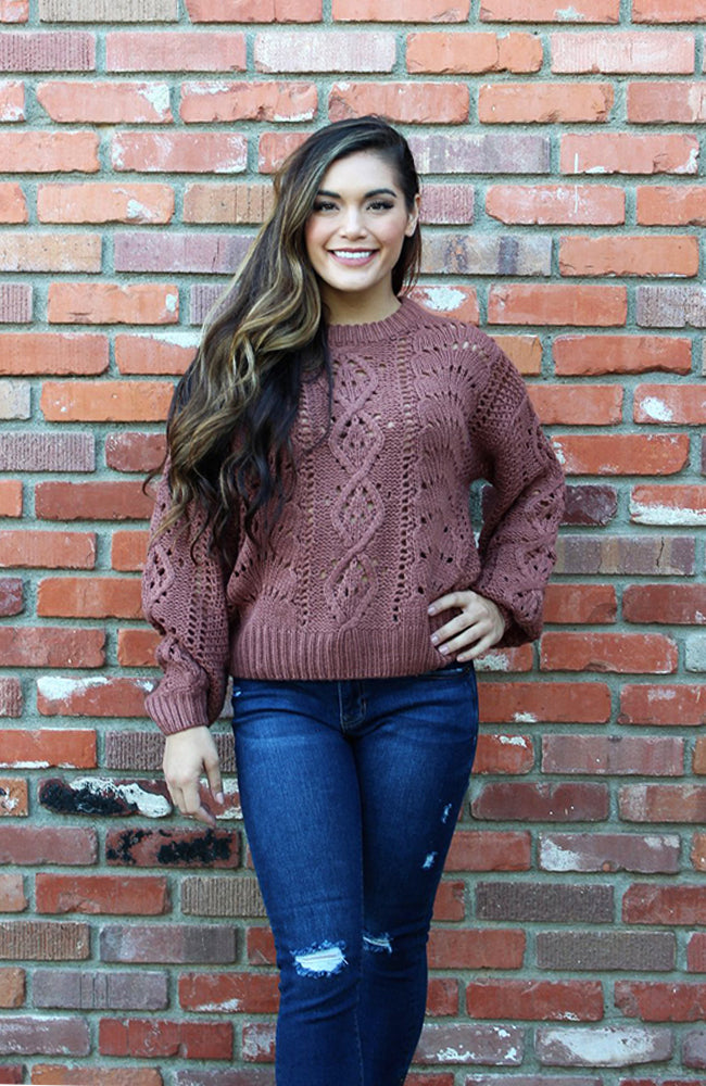 CinnaMauve Bubble Sleeve Cable Knit Sweater