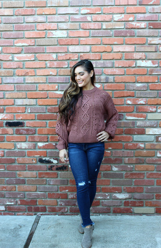 Mauve Cable Knit Sweater with Bubble Sleeves