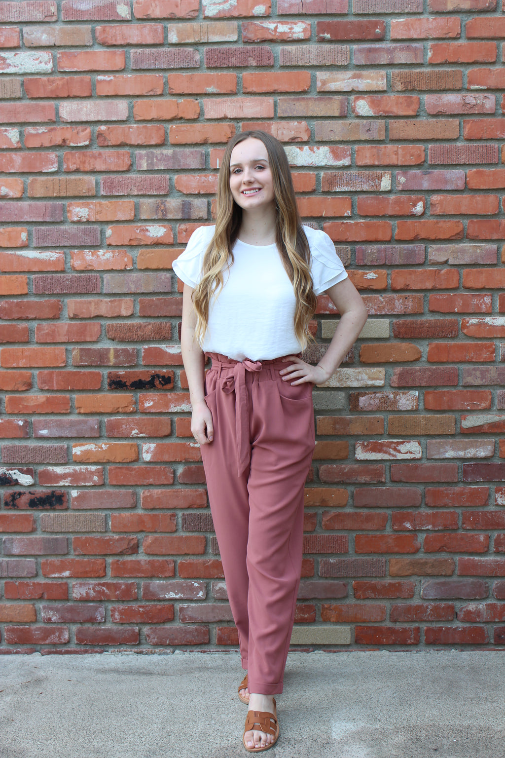 Paperbag Tie Waist  Trousers Slacks Pants in Mauve