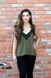 Lingerie Inspired Camisole In Olive With Black Lace Applique
