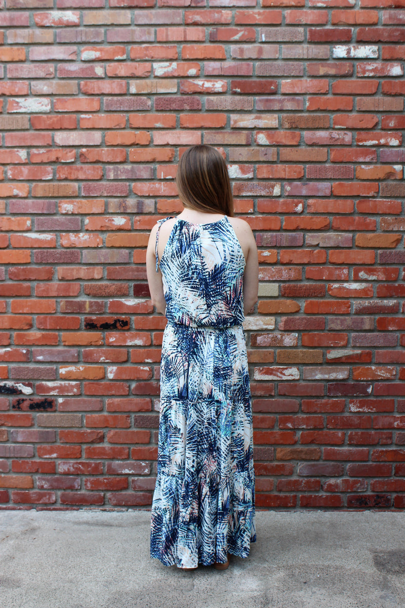 Paradise Is Calling Palm Leaf Print Tiered Maxi Dress By Love Stitch