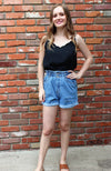 High Waist Distressed Denim Shorts in Medium Blue Denim