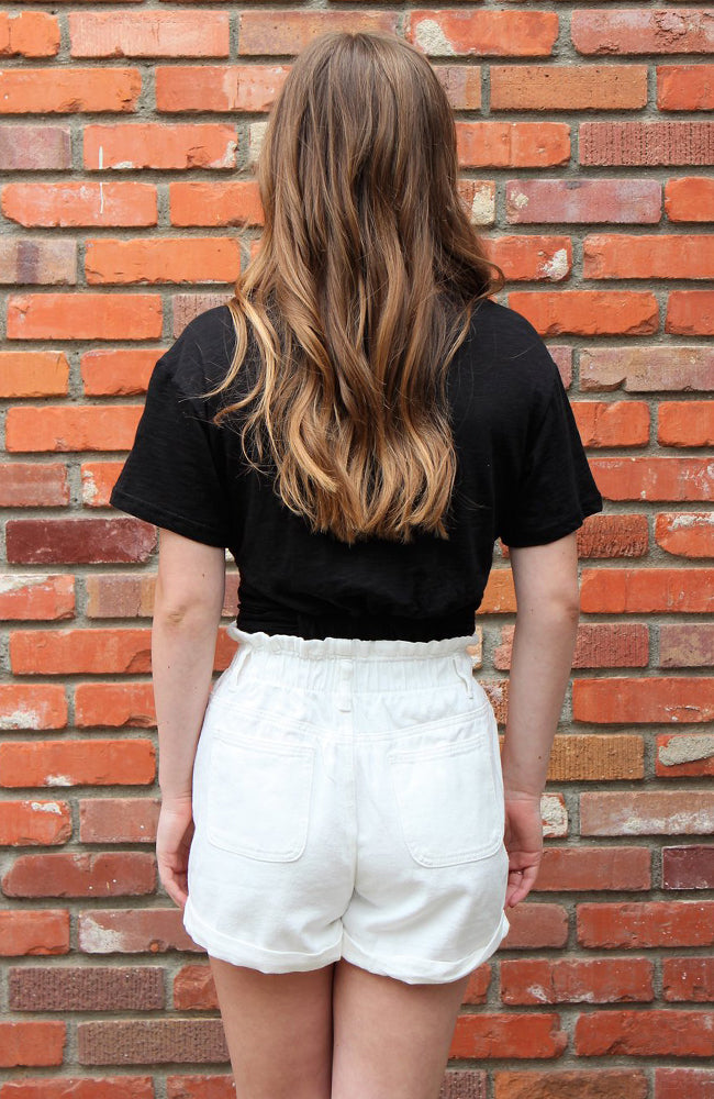 High Waist Distressed Denim Shorts in White