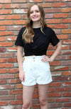 High Waisted Distressed Denim Shorts in White