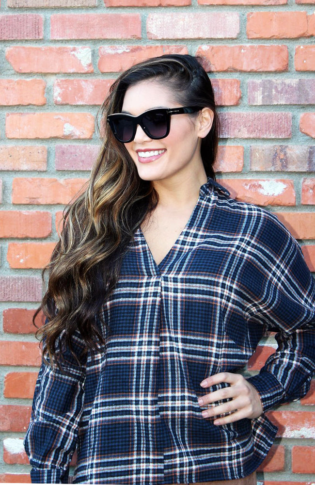 Blue And Copper Collared Plaid Top With Slight Dolman Sleeves