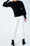 Black fitted crew neck sweater with puff balloon sleeves
