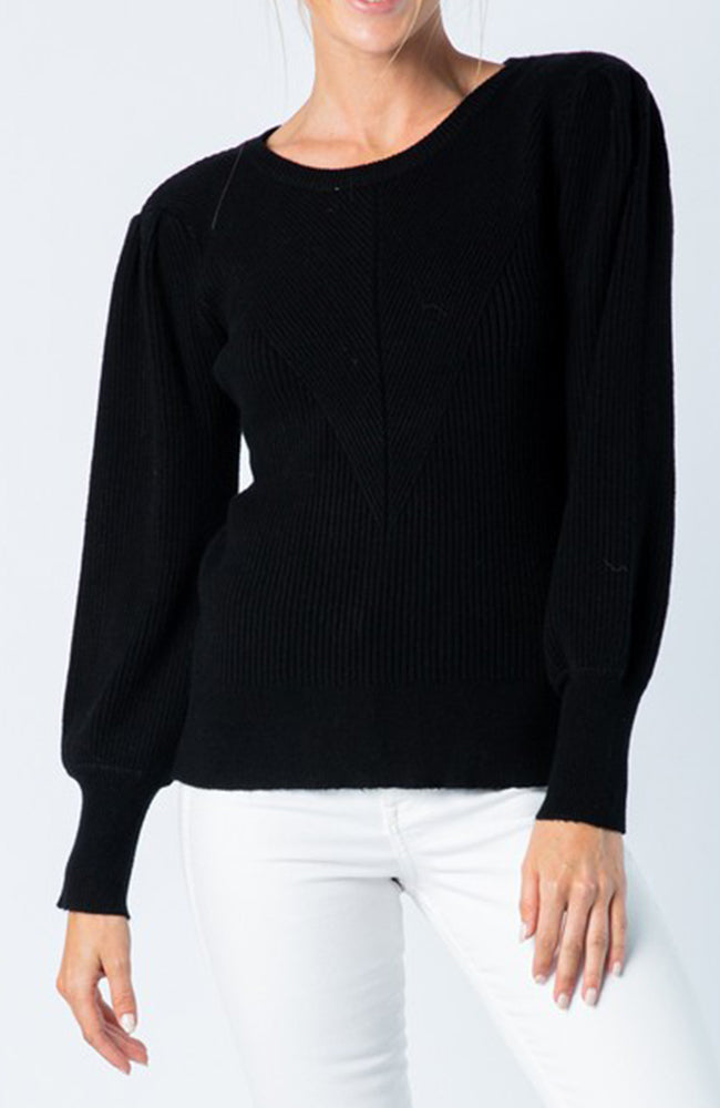 Black Crew neck sweater with puff balloon sleeves and fitted bodice