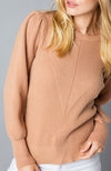 Tan Crew Neck Sweater With Puff Balloon Sleeves