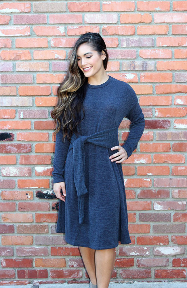 Sweater Dress With Tie Waist In Slate