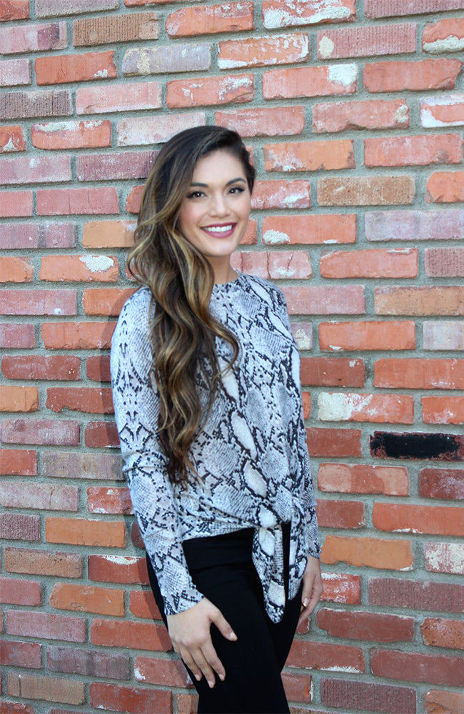 Grey and Black Snakeskin Print Sweater With Tie Waist By Olivaceous