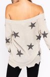 Grey Star Distressed Slouchy Off The Shoulder Sweater Back