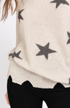 Star Distressed Slouchy Off The Shoulder Sweater Closeup