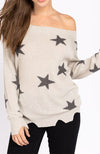 Star Distressed Slouchy Off The Shoulder Sweater Front
