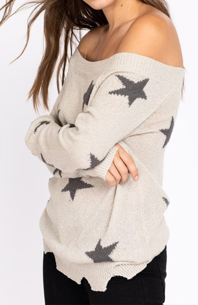 Star Distressed Slouchy Off The Shoulder Sweater Side