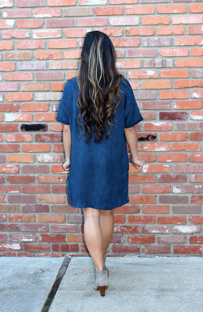 Vegan Suede Shift Dress With Pockets in Blue