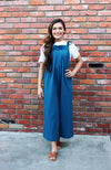 Teal Jumpsuit With Tie Shoulder Straps, Culotte Length, And Wide Leg Silhouette