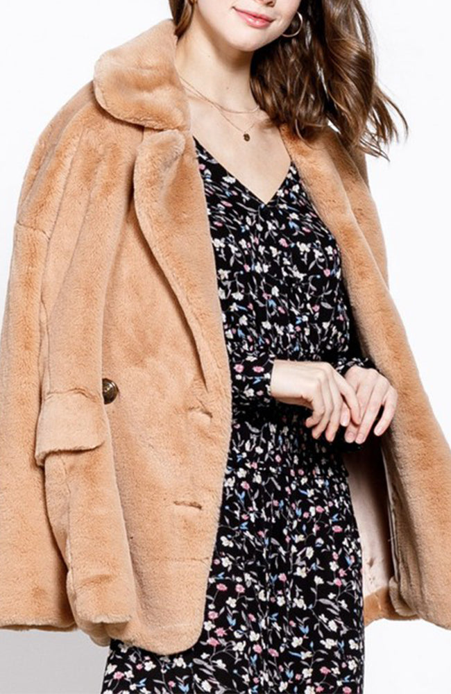 Teddy Bear Faux Fur Coat in Camel